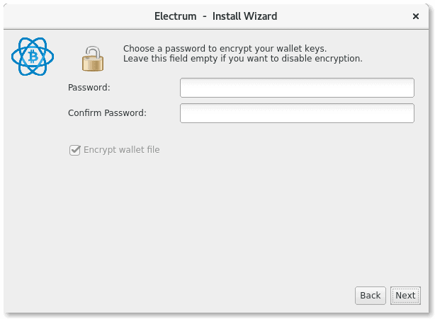 Electrum Setup Screen
